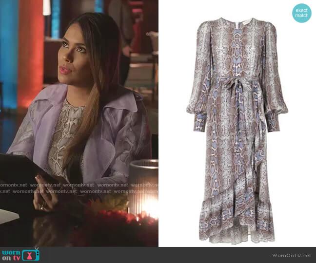 Snakeskin-Print Wrap Dress by Zimmermann worn by Cristal Jennings (Daniella Alonso) on Dynasty