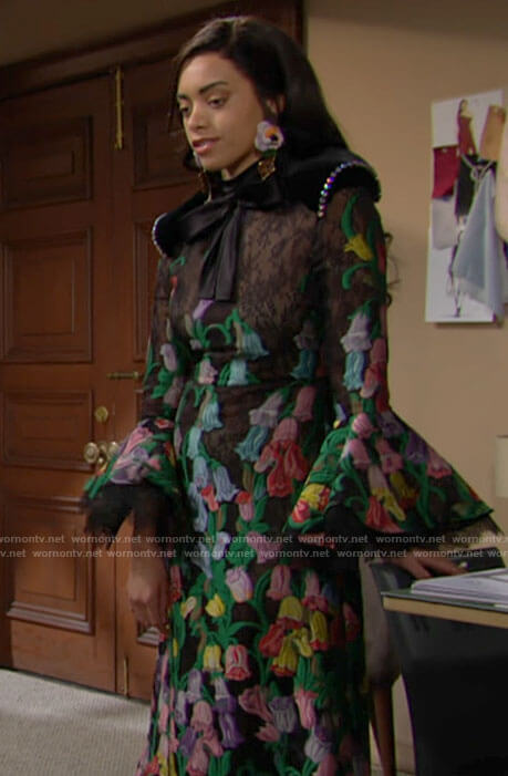 Zoe's floral embroidered bell sleeve dress on The Bold and the Beautiful