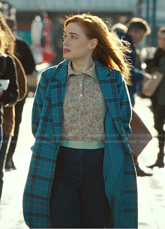 Zoey's floral polo and blue plaid coat on Zoeys Extraordinary Playlist