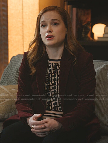 Zoey's black and beige monogram sweater on Zoeys Extraordinary Playlist