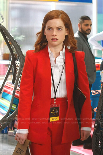 Zoey's red lapelless blazer and pants on Zoeys Extraordinary Playlist