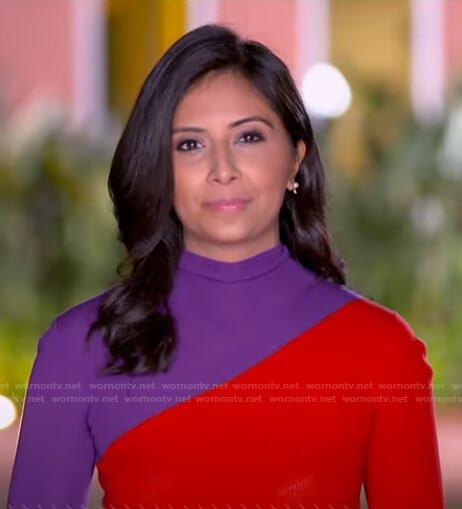 Zohreen's red and purple sweater on Good Morning America