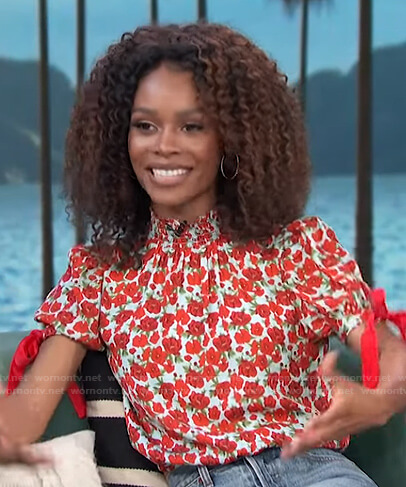 Zuri's red and blue floral top on Access Hollywood