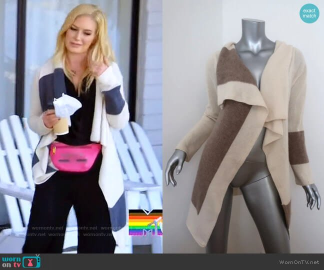 360 Cashmere Colorblock Draped Cardigan worn by Heidi Montag  on The Hills New Beginnings