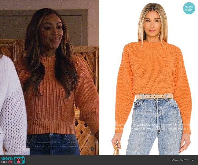 Mia Cropped Sweater by 525 worn by Tayshia Adams  on The Bachelorette