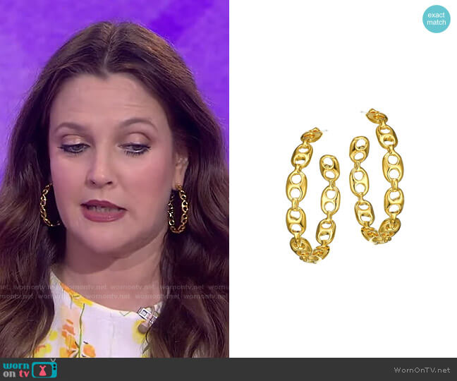 Goldplated Chain Link Hoop Earrings by Lizzie Fortunato worn by Drew Barrymore on Today