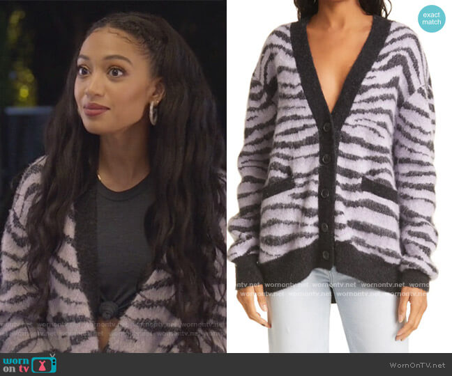 90s Oversize Check Wool & Alpaca Blend Cardigan by Re/done worn by Olivia Baker (Samantha Logan) on All American