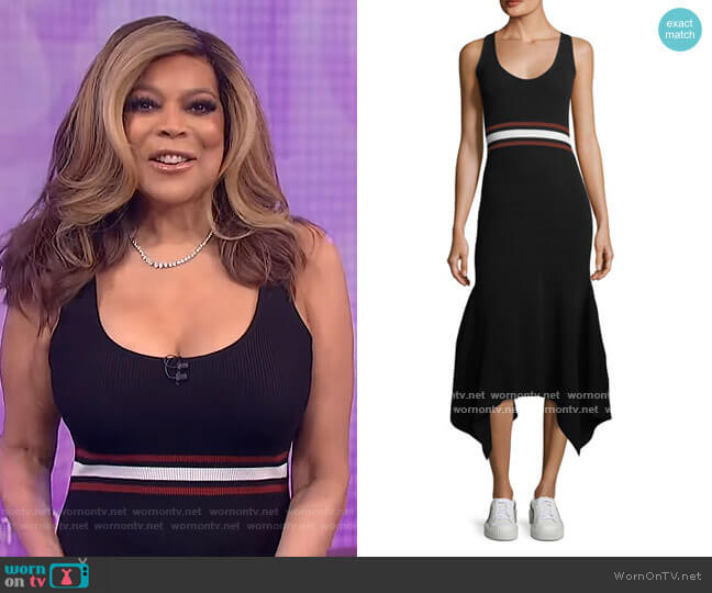Anders Scoop-Neck Sleeveless Fitted Handkerchief-Hem Dress by A.L.C. worn by Wendy Williams  on The Wendy Williams Show