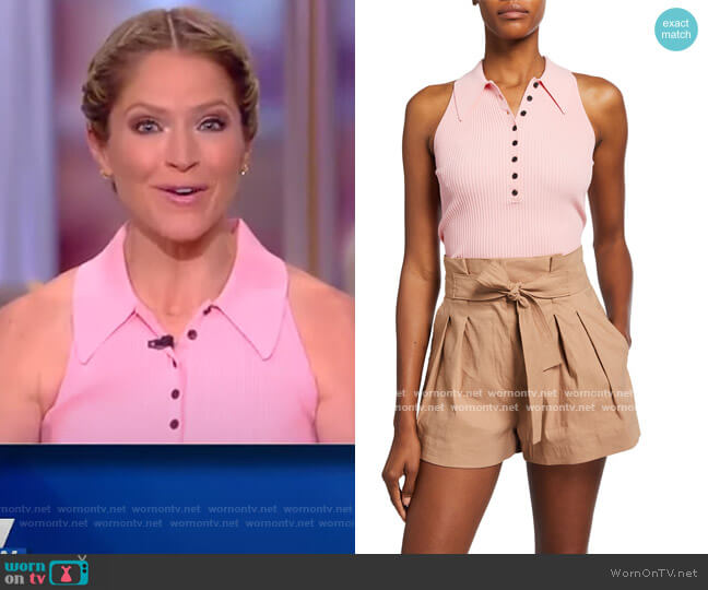 Asher Sleeveless Knit Polo Top by A.L.C worn by Sara Haines  on The View