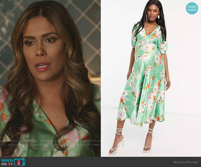Maternity Puff Sleeve Satin Maxi Tea Dress by Asos worn by Cristal Jennings (Daniella Alonso) on Dynasty