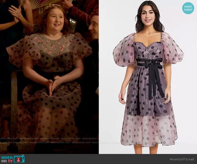 ASOS DESIGN organza overlay puff sleeve midi prom dress in polka dot worn by Ashlyn (Julia Lester) on High School Musical The Musical The Series