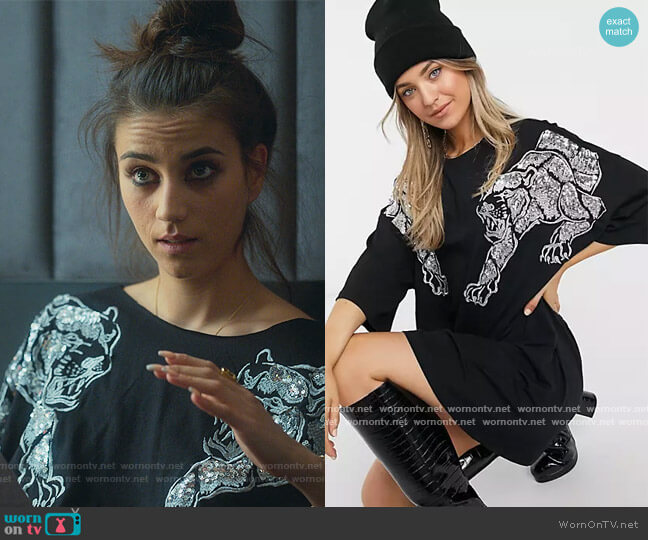 Oversized t-shirt Dress with Sequin Panthers in black by ASOS worn by Rebeca (Claudia Salas) on Elite