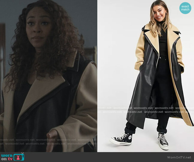 Hybrid Leather Look Belted Coat by ASOS worn by Tracy Roxboro on The Chi