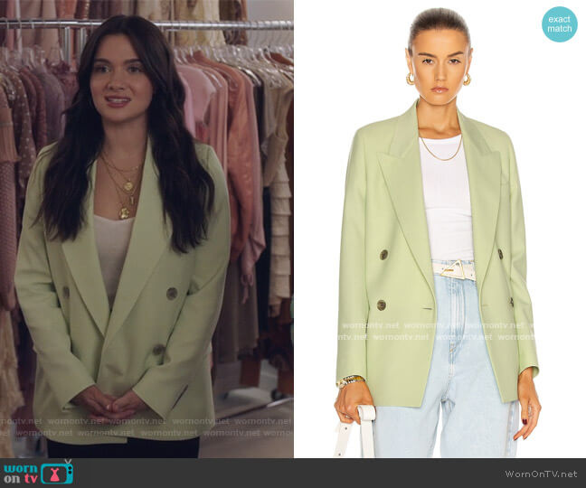 Green Wool Double-Breasted Suit Blazer by Acne Studios worn by Jane Sloan (Katie Stevens) on The Bold Type