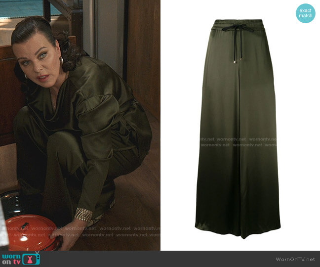 Wide-Leg Silk Trousers by Adam Lippes worn by Maggie (Debi Mazar) on Younger