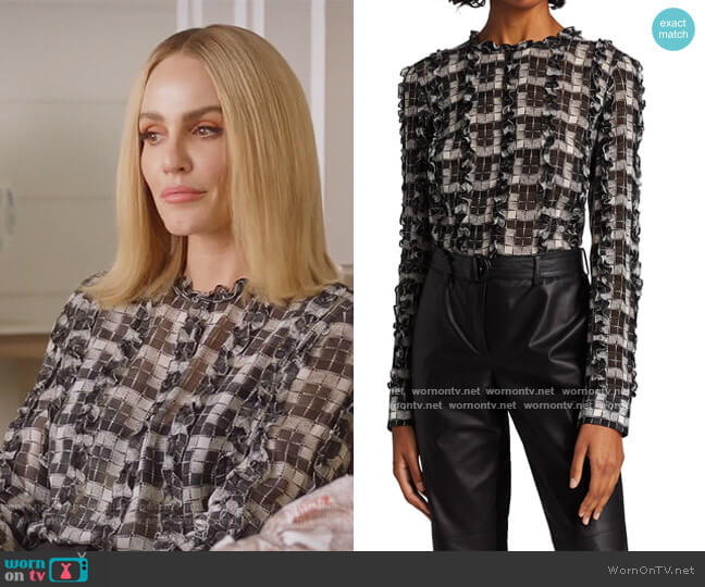 Printed Ruffle Blouse by Akris Punto worn by Laura Baker (Monet Mazur) on All American