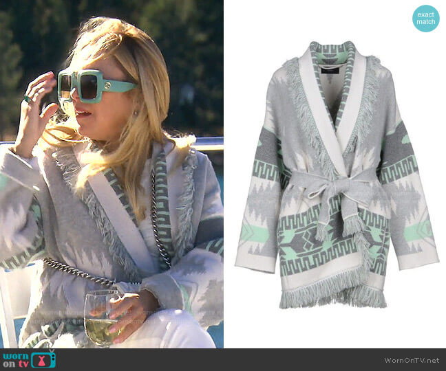 Fringed Jacquard-Knit Cashmered Cardigan by Alanui worn by Sutton Stracke  on The Real Housewives of Beverly Hills
