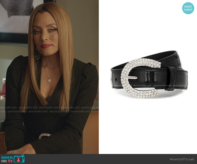 Embossed Leather & Crystal Belt by Alessandra Rich worn by Dominique Deveraux (Michael Michele) on Dynasty