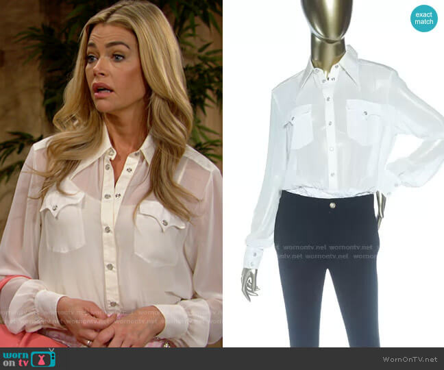 Alessandra Rich Georgette Bodysuit worn by Shauna Fulton (Denise Richards) on The Bold & the Beautiful