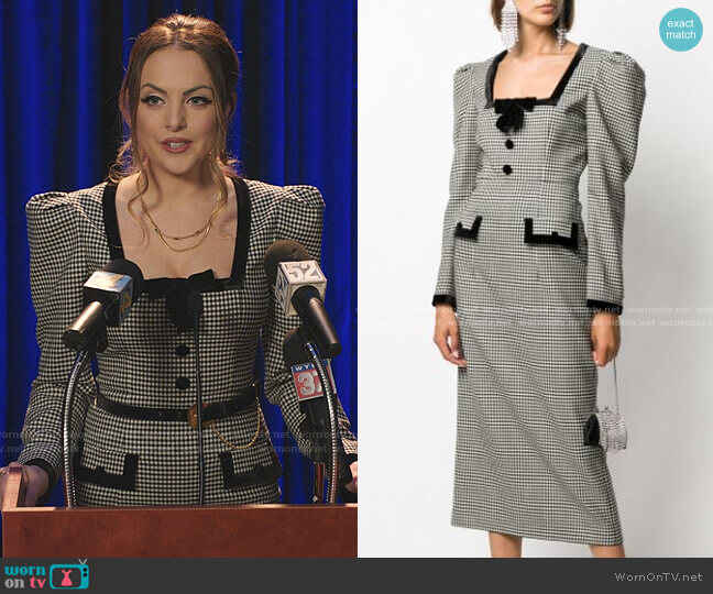 Gingham Square Neck Dress by Alessandra Rich worn by Fallon Carrington (Elizabeth Gillies) on Dynasty