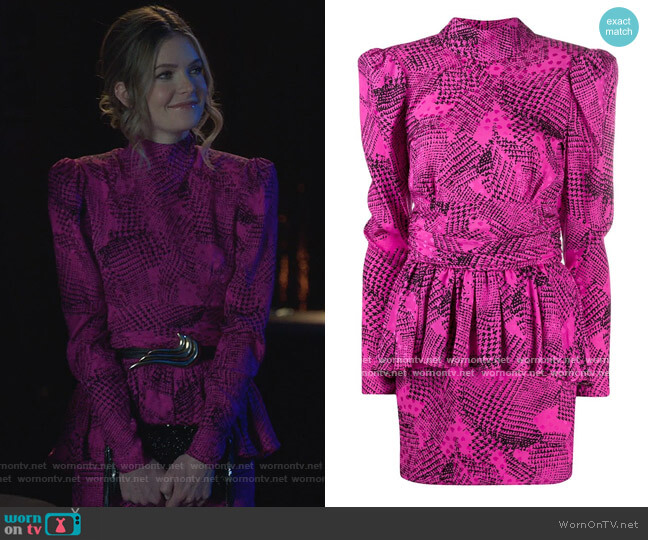 Peplum Abstract Print Dress by Alessandra Rich worn by Sutton (Meghann Fahy) on The Bold Type