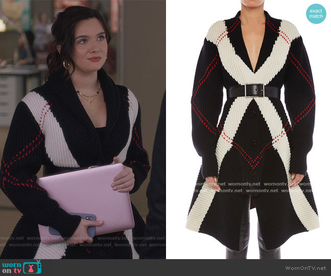 Argyle Intarsia Knit Wool-Cashmere Cardigan by Alexander McQueen worn by Jane Sloan (Katie Stevens) on The Bold Type