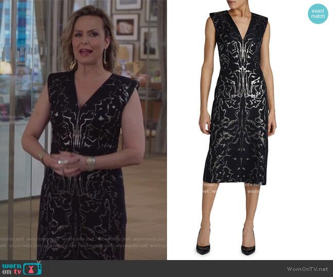 V-Neck Brocade-Print Sheath Dress by Alexander McQueen worn by Jacqueline (Melora Hardin) on The Bold Type