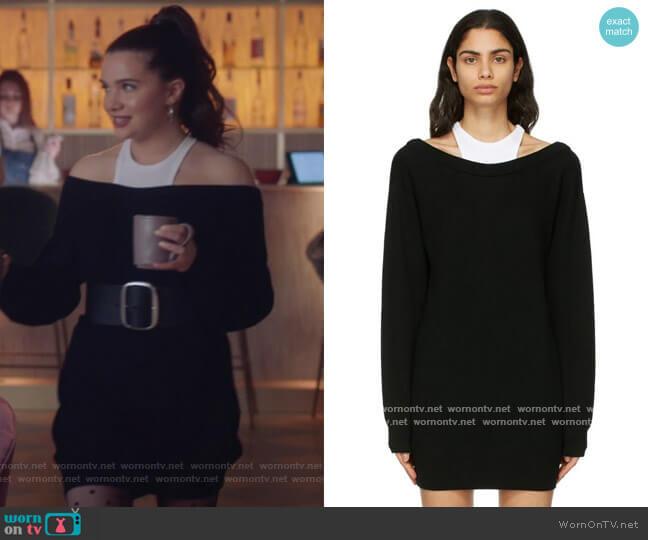 Black Merino Bi-Layer Dress by Alexander Wang T worn by Jane Sloan (Katie Stevens) on The Bold Type
