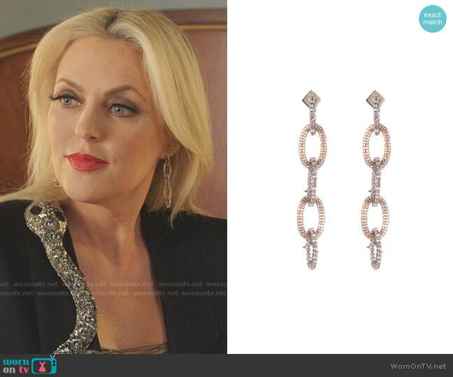Crystal Encrusted Mesh-Link Dangle Earring by Alexis Bittar worn by Alexis Carrington (Elaine Hendrix) on Dynasty