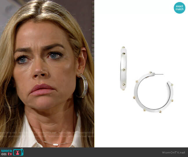 Alexis Bittar Studded Hoop Earrings worn by Shauna Fulton (Denise Richards) on The Bold & the Beautiful