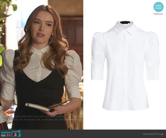 Willa Puff-Sleeve Blouse by Alice + Olivia worn by Kirby Anders (Maddison Brown) on Dynasty