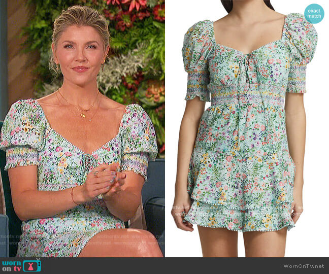Crawford Sweetheart Puff-Sleeve Dress by Alice + Olivia worn by Amanda Kloots  on The Talk