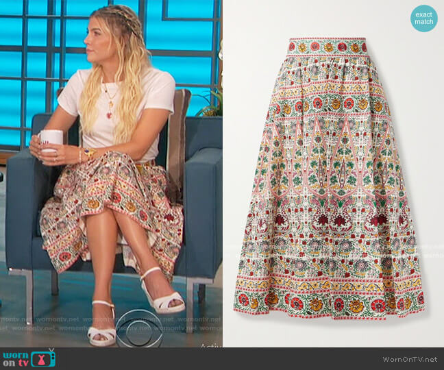 Earla Embroidered Midi Skirt by Alice + Olivia worn by Amanda Kloots  on The Talk