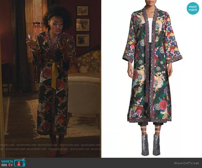 Lynn Side-Slit Long Kimono by Alice + Olivia worn by Sasha Snow (Margaret Odette) on Sex/Life
