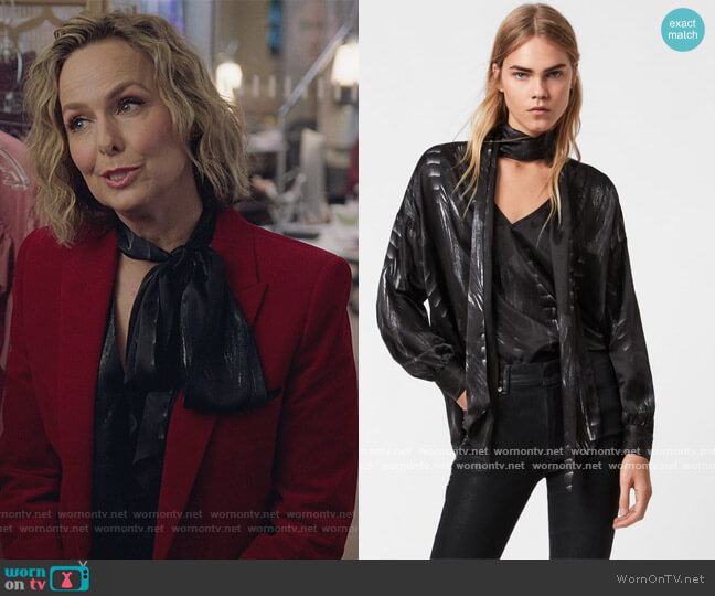 Cesey Viola Crossover Top by All Saints worn by Jacqueline (Melora Hardin) on The Bold Type