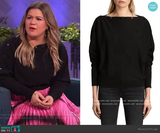 Eli Button-Trim Sweater by All Saints worn by Kelly Clarkson  on The Kelly Clarkson Show
