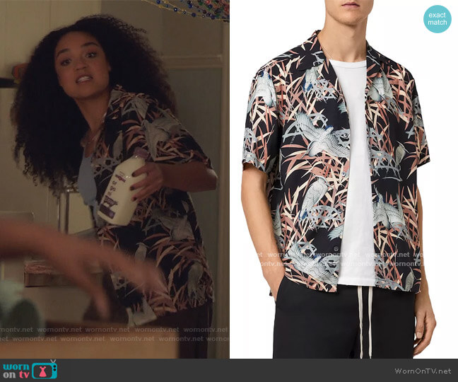 Siber Bird Print Relaxed Fit Camp Shirt by All Saints worn by Kat Edison (Aisha Dee) on The Bold Type