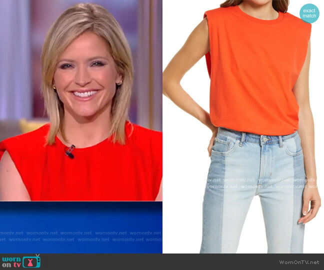 Coni Shoulder Pad Cotton Sleeveless Muscle T-Shirt by All Saints worn by Sara Haines  on The View