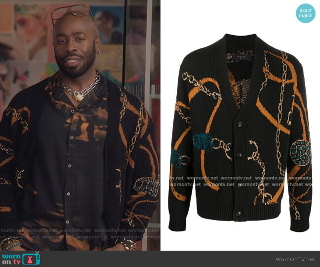 Patterned V-neck cardigan by Amiri worn by Stephen Conrad Moore on The Bold Type