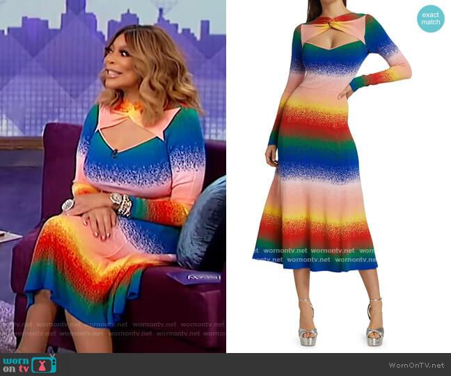 Rainbow Twist-Neck Knit Dress by Amur worn by Wendy Williams  on The Wendy Williams Show