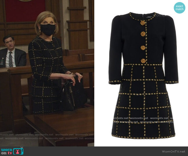 Button-Embellished Check-Detailed Crepe Mini Dress by Andrew Gn worn by Diane Lockhart (Christine Baranski) on The Good Fight