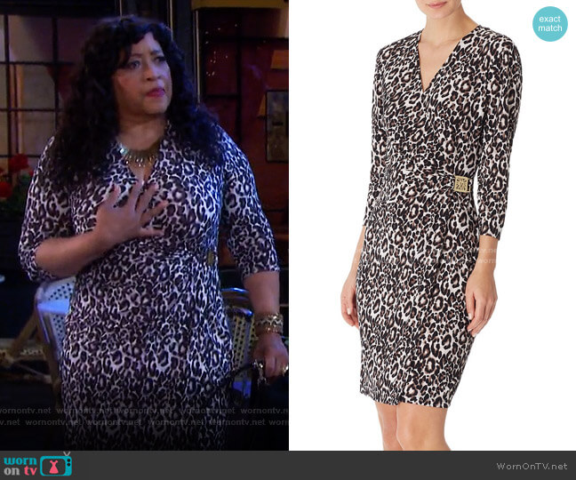 Faux-Wrap Leopard-Print Dress by Anne Klein worn by Paulina Price (Jackée Harry) on Days of our Lives
