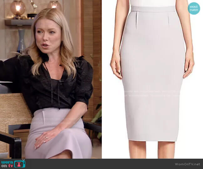Arreton Pencil Skirt by Roland Mouret  worn by Kelly Ripa  on Live with Kelly & Ryan