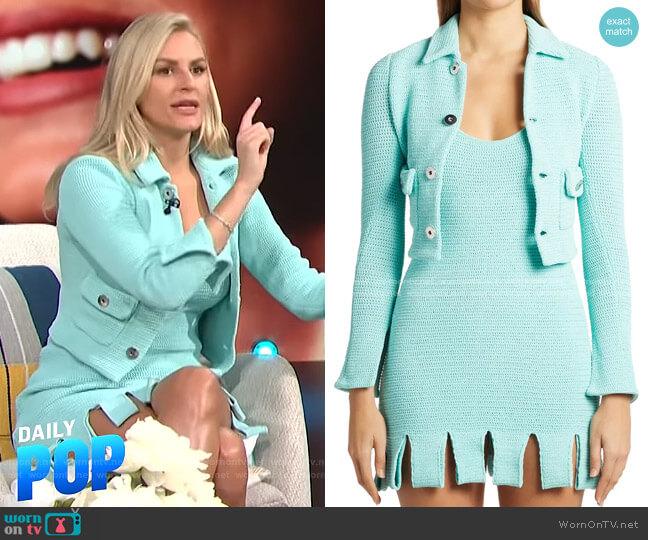 Open-Knit Mini Dress by Bottega Veneta worn by Morgan Stewart  on E! News