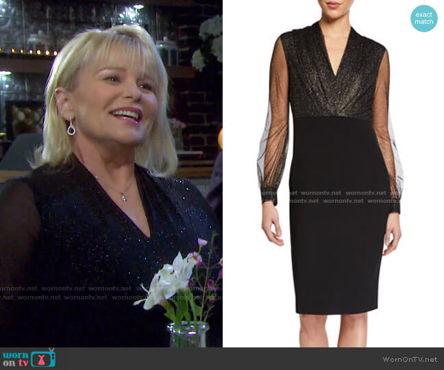 Metallic Mesh Dot Sheer-Sleeve Crepe Dress by Badgley Mischka Collection worn by Bonnie Lockhart (Judi Evans) on Days of our Lives