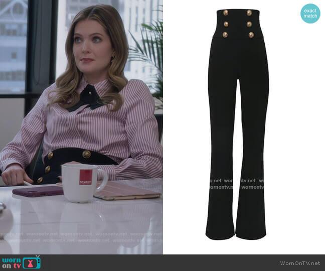 High Waist Viscose Wide Leg Pants by Balmain worn by Sutton (Meghann Fahy) on The Bold Type