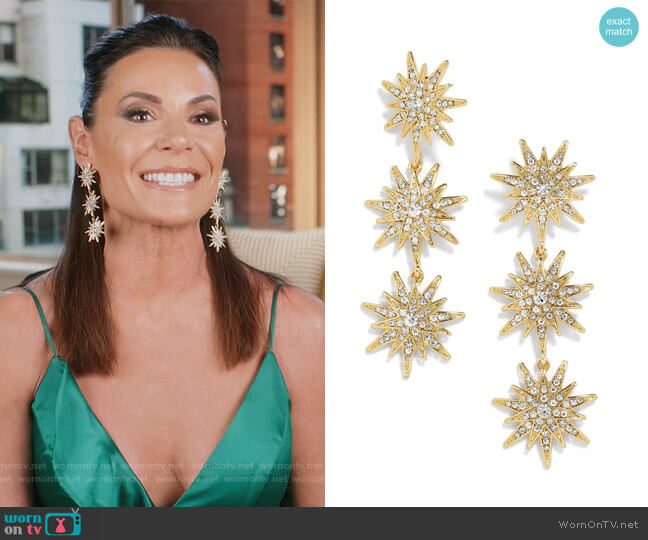 Star Drop Earrings by Baublebar worn by Luann de Lesseps  on The Real Housewives of New York City