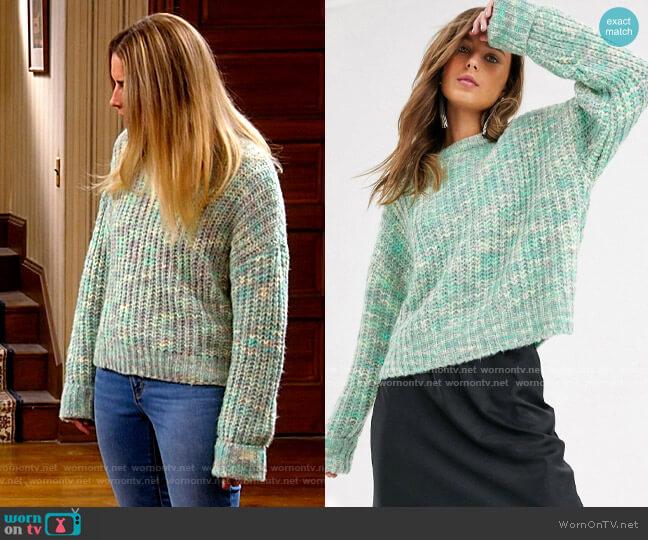 Bershka spacedye knitted sweater in mint worn by Allison (Annie Murphy) on Kevin Can F**k Himself