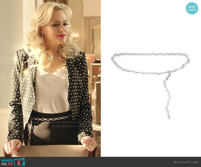Silver Chain Belt by Black & Brown worn by Alexis Carrington (Elaine Hendrix) on Dynasty