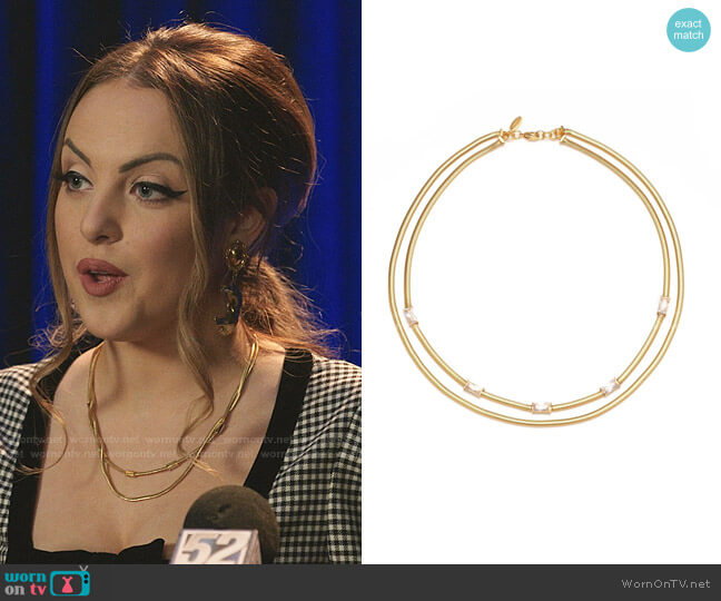 Delphine Layered Snake Chain Necklace by Bonheur Jewelry worn by Fallon Carrington (Elizabeth Gillies) on Dynasty